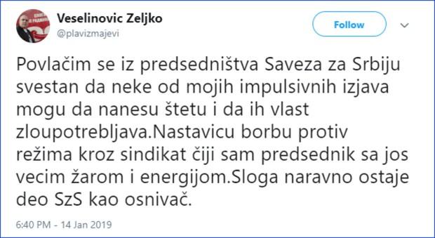 Veselinović se povlači iz SZS-a